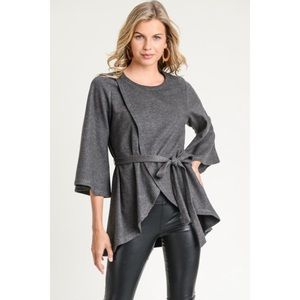 Soft Gray Everyday Top with belt